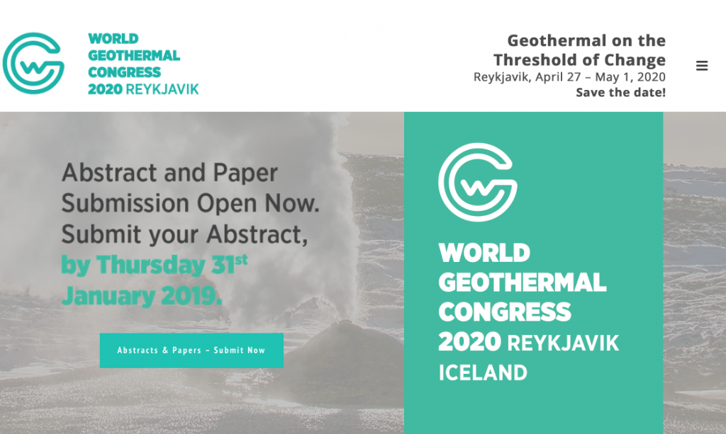 World Geothermal Congress 2020 – Call for Abstracts until January 31, 2019