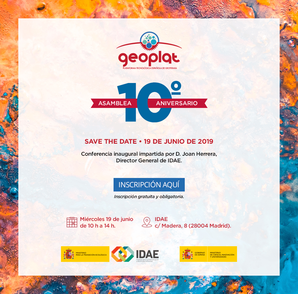 SAVE THE DATE: Asamblea 10º Aniversario GEOPLAT (19 junio | 10h | Madrid)