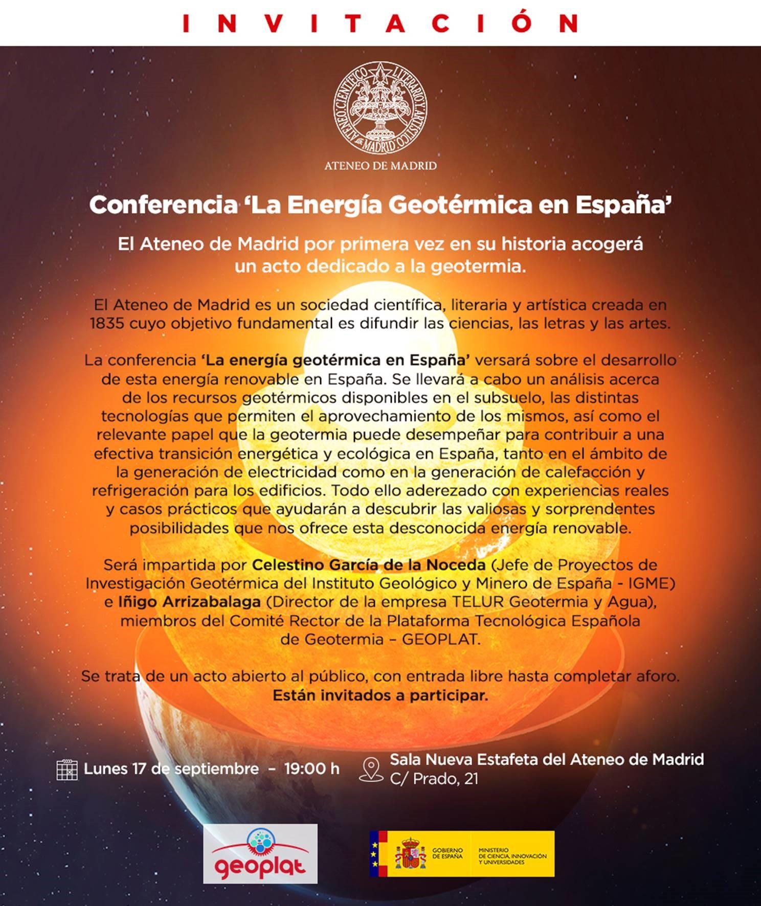 (Español) Conferencia en el Ateneo de Madrid: 'La Energía Geotérmica en España' (17 septiembre 2018, 19h)