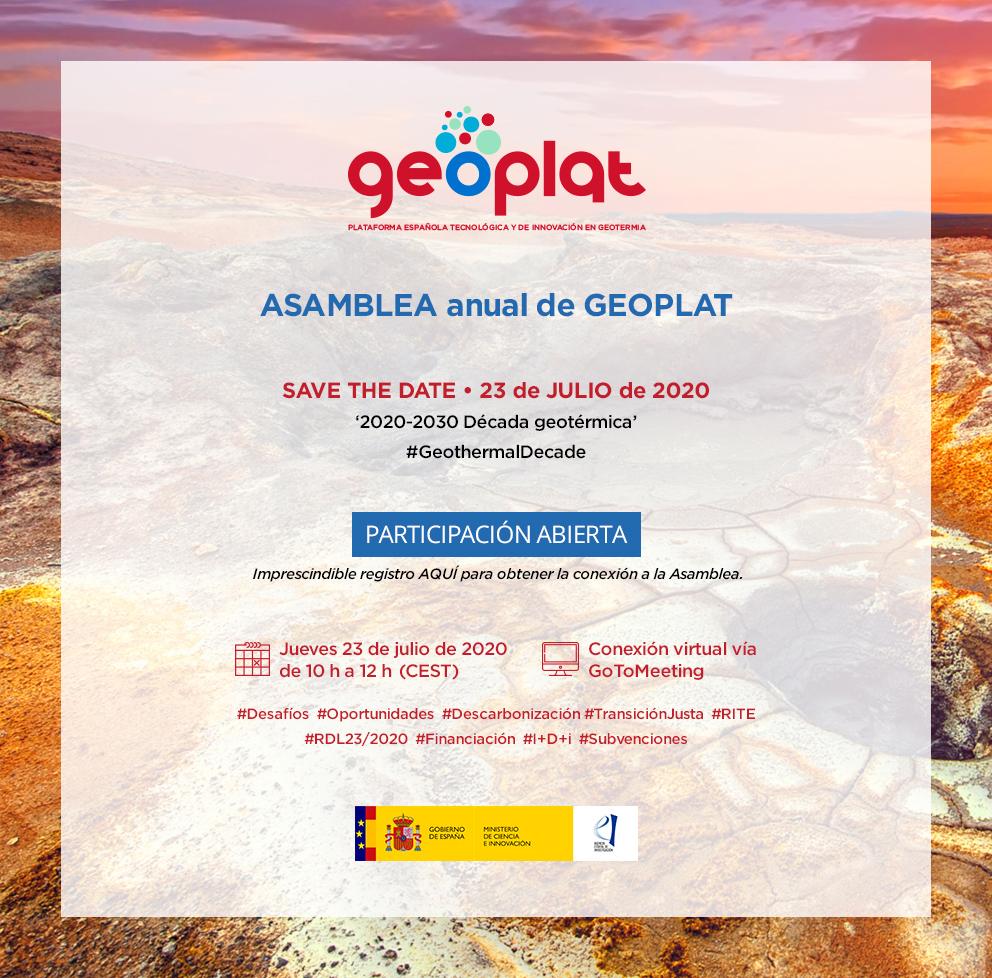 Save the date: 23 julio -Asamblea GEOPLAT 2020