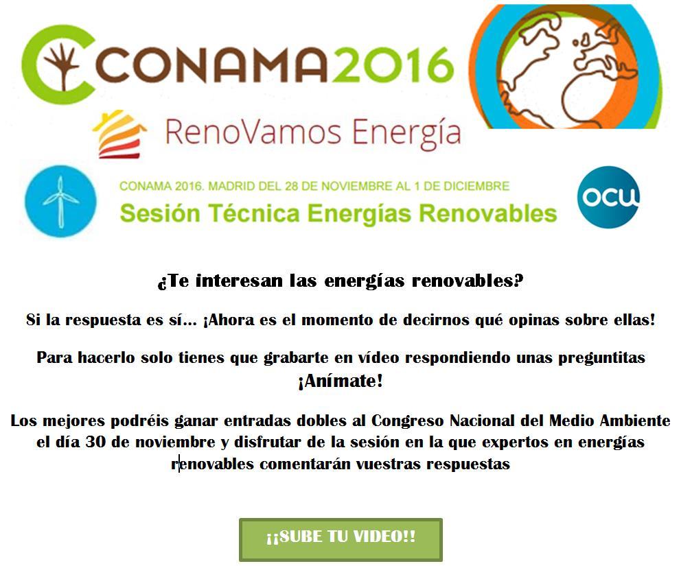 ¿Quieres asistir gratis a CONAMA 2016? ¡Danos tu opinión sobre las energías renovables!