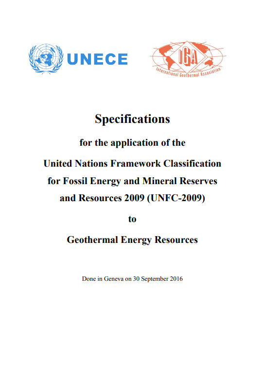 Specifications for the application of the UNFC to Geothermal Energy Resources