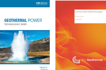 Two reports relevant reports for the geothermal sector: Geothermal Power Technology Brief y Drilling Technologies