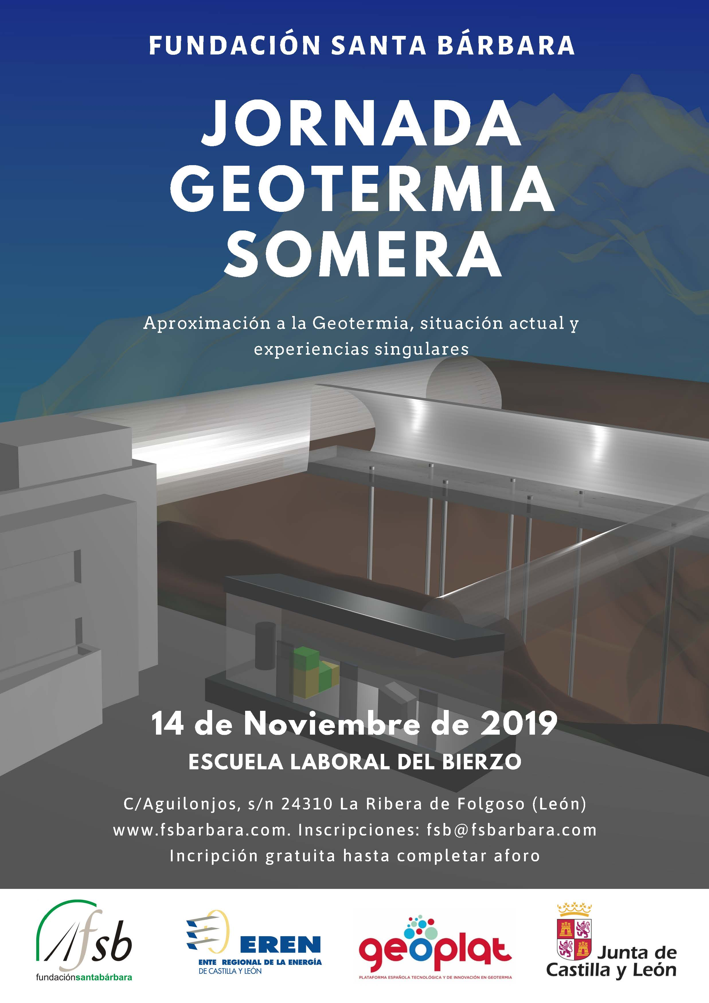 GEOPLAT participa el 14 de noviembre en la 'Jornada sobre Geotermia Somera' organizada por la Fundación Santa Bárbara