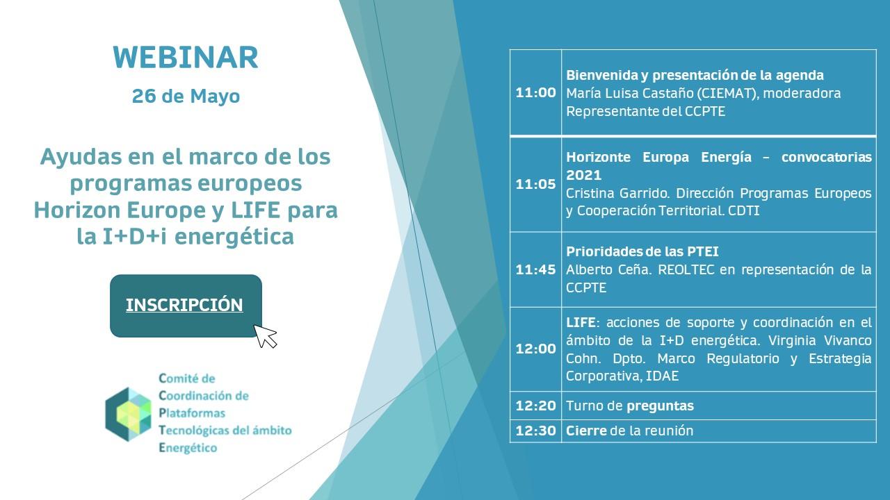 (Español) 26 mayo: Webinar CCPTE 'Ayudas en el marco de los programas europeos Horizon Europe y LIFE para la I+D+i energética'